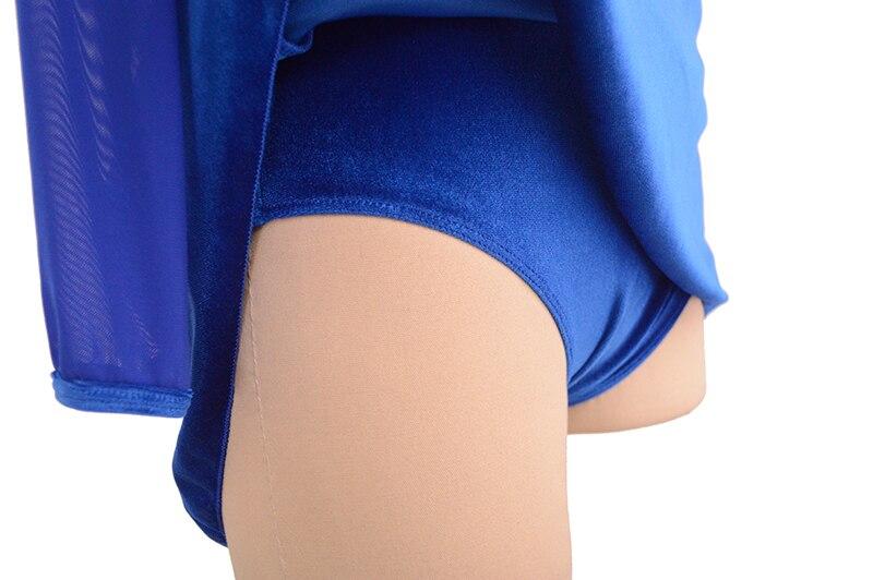 Nasinaya robe de patinage artistique concours personnalisé jupe de patinage sur glace pour fille femmes enfants gymnastique Performance velours - 6