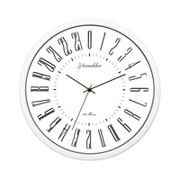 Marco moderno reloj de pared redondo decorativo nuevo 24 horas diseño de esfera 2 sala de estar 12 pulgadas de Metal Relojes de pared     -