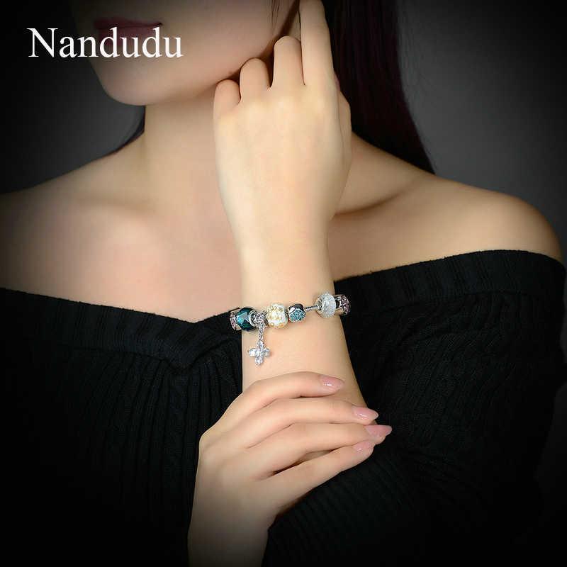 Nandudu białe złoto kolor kwitnący Dasiy wisiorek zielony kryształ Murano szklane koraliki urok bransoletka modna biżuteria na prezent B1078