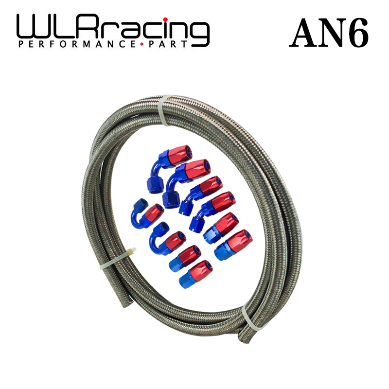 цена на WLR RACING - AN6 STEELNESS/STEEL BRAIDED 5M AN6 STAINLESS OIL/FUEL OIL LINEline+6AN Fitting 6-AN Hose End Adaptor KIT WLR7112+