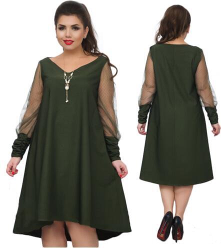 98a428c1748 2018 Большие размеры женские платье с сетчатыми рукавами праздничное платье  5XL 6XL Большие размеры Свободные летнее