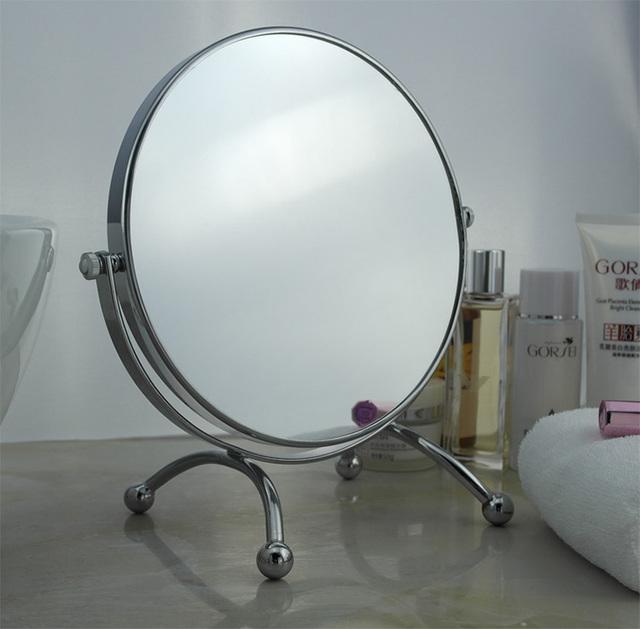 8 pulgadas de moda de alta definición espejo de maquillaje escritorio/2-cara de metal espejo de aumento de baño/360 grados de rotación del espejo