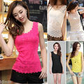 New Lace Floral Sleeveless Crochet Vintage Lady Vest Tank Top T-Shirt Vest Sexy