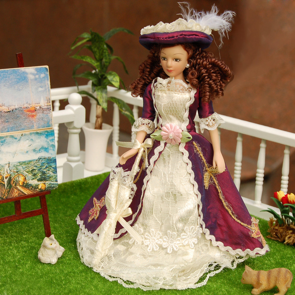 Hot 1pcs 1/12 Dollhouse Miniature Porcelain Dolls Classical Lady with Hat Girl Doll Realistic Baby Toys Birthday Gift for Girls 1