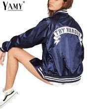 Fashion TRY HARDER letter print bomber jacket women Winter Satin full sleeve single breasted basic coats female baseball outwear