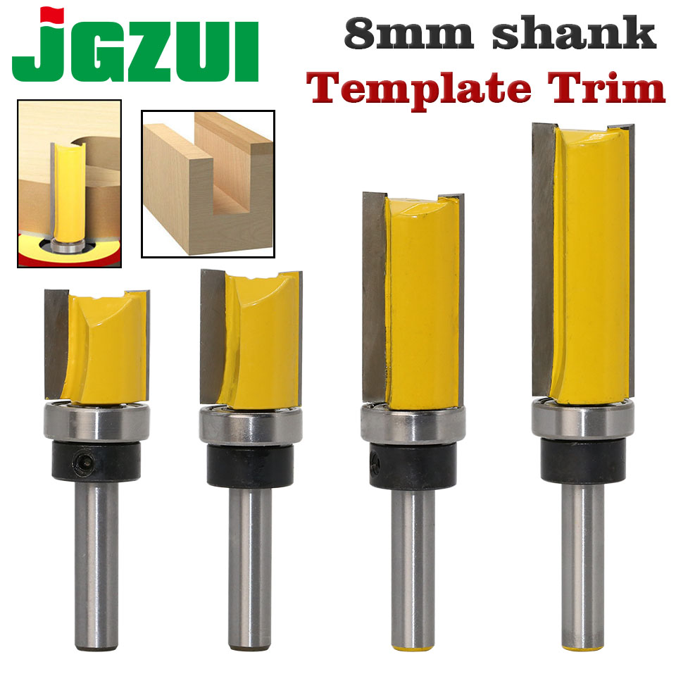 1PC 8mm Shank Template Trim Hinge Mortising Router Bit Straight end mill trimmer cleaning flush trim Tenon Cutter forWoodworking-in Milling Cutter from Tools