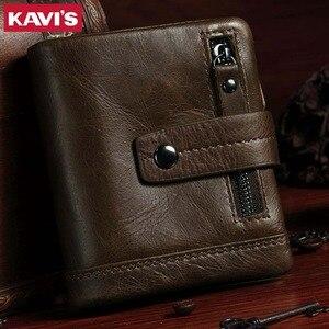 Image 5 - KAVIS Echtem Leder Brieftasche Männer Geldbörse Männlichen Cuzdan PORTFOLIO MANN Portomonee Kleine Mini Rfid Walet Tasche Mode Mann Vallet