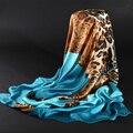 HEASLU 178x68 см Красочные Leopard Высокое Качество Весной Чистый Шелковый Шарф Женщин Новый Стиль Моды Дамы Длинные Шали