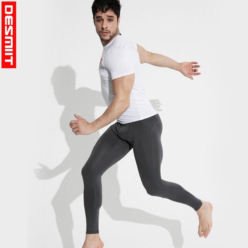2018 Hot DESMIIT summer new long pants mens tight sports basketball fitness pants riding pants elastic full comfortable
