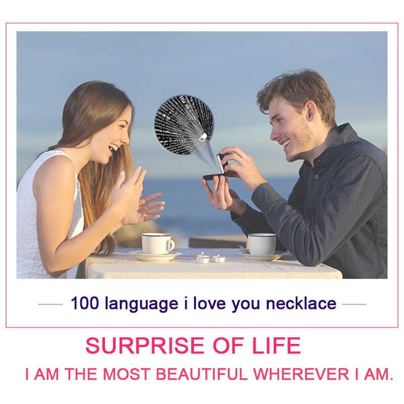 DODOAI 100 שפה אני אוהב אותך שרשרת, לב שרשרת לילדה, לב רוז זהב וכסף שרשרת זירקון