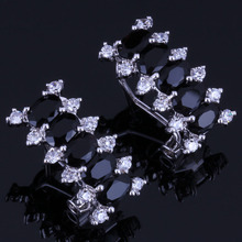 Flawless Rectangle Black Cubic Zirconia White CZ 925 Sterling Silver Clip Hoop Huggie Earrings For Women V0914