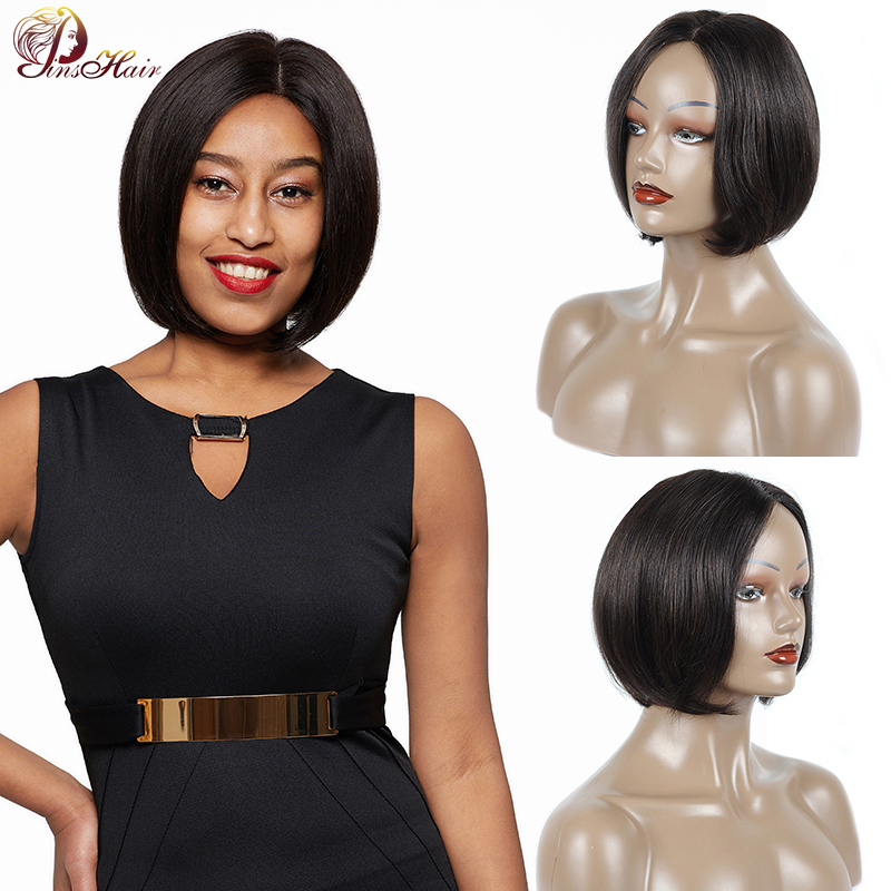 Pinshair Short Bob Human Hair Wigs For Black Women Natural Color Lace Front Human Hair Wigs Brazilian Non-remy Human Hair Wig