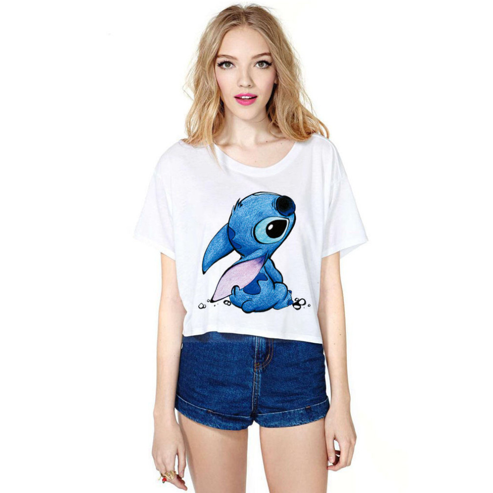 Women Summer Casual Top Short Sleeve Tee Cute Stitch Printed T-Shirt Crop  White Free Size Halloween Christmas Girl Friend Gift