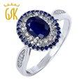 1.60 СТ овальный природный синий сапфир 925 серебряное кольцо
