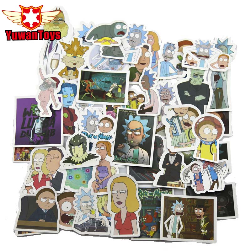 New 49Pcs Funny Anime American Drama Rick And Morty Funny Sticker Decal For Car Laptop Bicycle