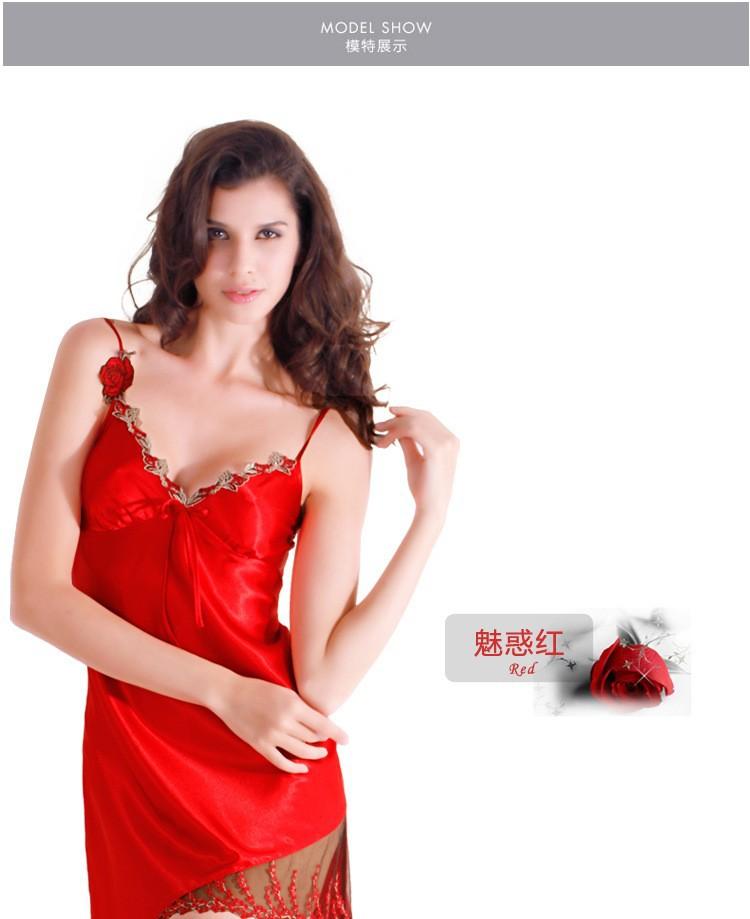 49f67f5f63 Luxury Sexy Satin Silk Sleepwear Embroidery Women Sleep Dress Summer ...