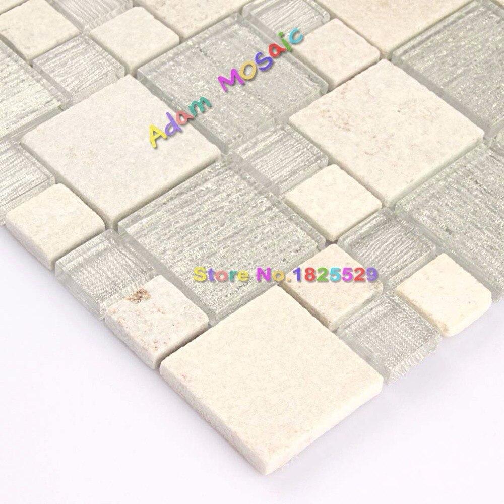 Stone Tile White Glass Mosaic tiles Backsplash Kitchen Beige Wall ...