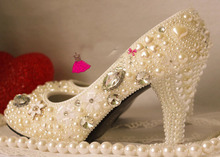 luxurious handmade fashion dress shoes princess Pearl rhinestone the crystal formal evening dress shoes 9cm high wedding shoes