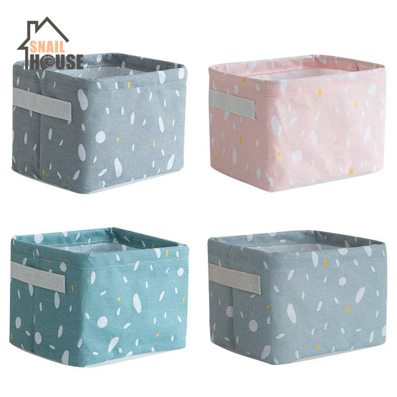 Snailhouse Linen Desktop Storage Box Printing Sundries Storage Basket European Style Pink Multi-Function Organizer Storage Boxes