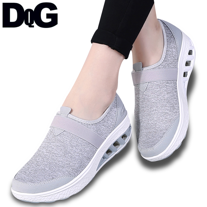 DQG 2018 Women Shoes Casual Flat Platform Strech Fabric Slip On Zapatos Mujer Flats Summer chaussures Femme Women Casual Shoes