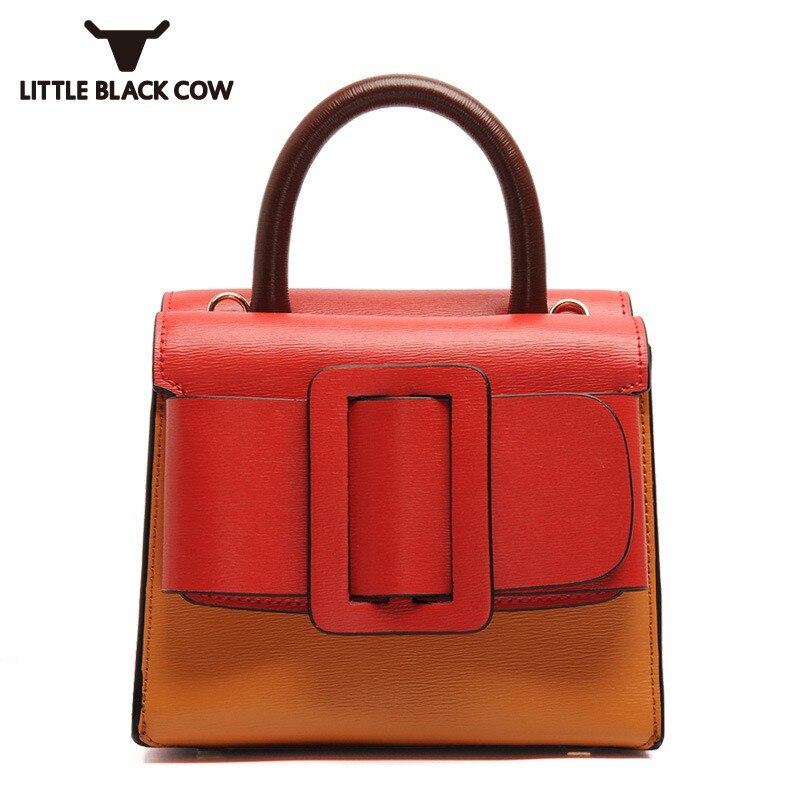 High Quality Brand Ladies Handbag 2018 New Fashion Match Color Belt Buckle Shoulder Bags European Style Small Crossbody Bags