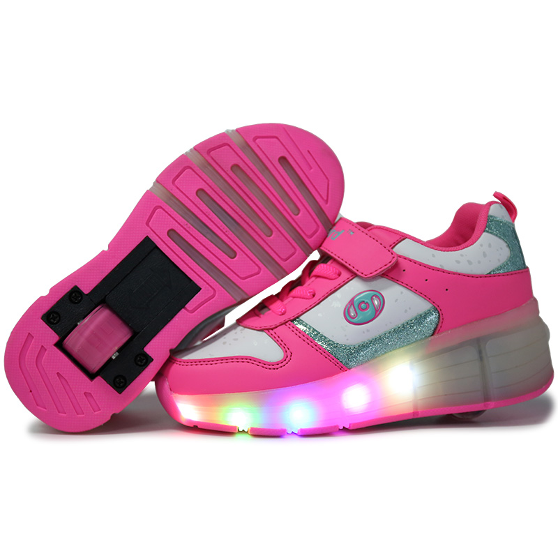 Size 27-43// Children Sneakers Single Wheels Led Luminous Boys Girls Toddler Runaway Shoes Rollers Sneakers Glowing Sneakers children s shoes girls boys shoes led tennis glowing sneakers with luminous sole usb charging magic stickers kids shoes