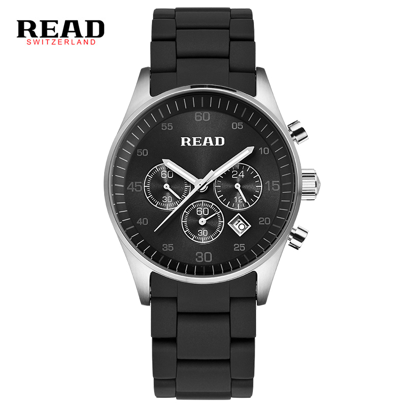READ 2017 full Stainless steel men black watches chronograph 30 meter water resistant sport watch relogios masculino 6080 L47 hubot elegant classic men s watch dates calendar classical art carved craft design chronograph men sport watches relogios