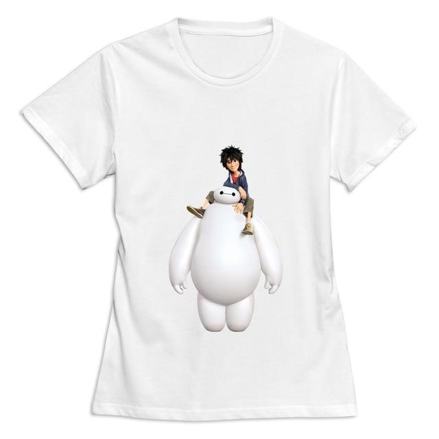 casual Big Hero 6 Baymax and Hiro women tee shirt Design Own short sleeve t-shirts  women 6c1132a3e