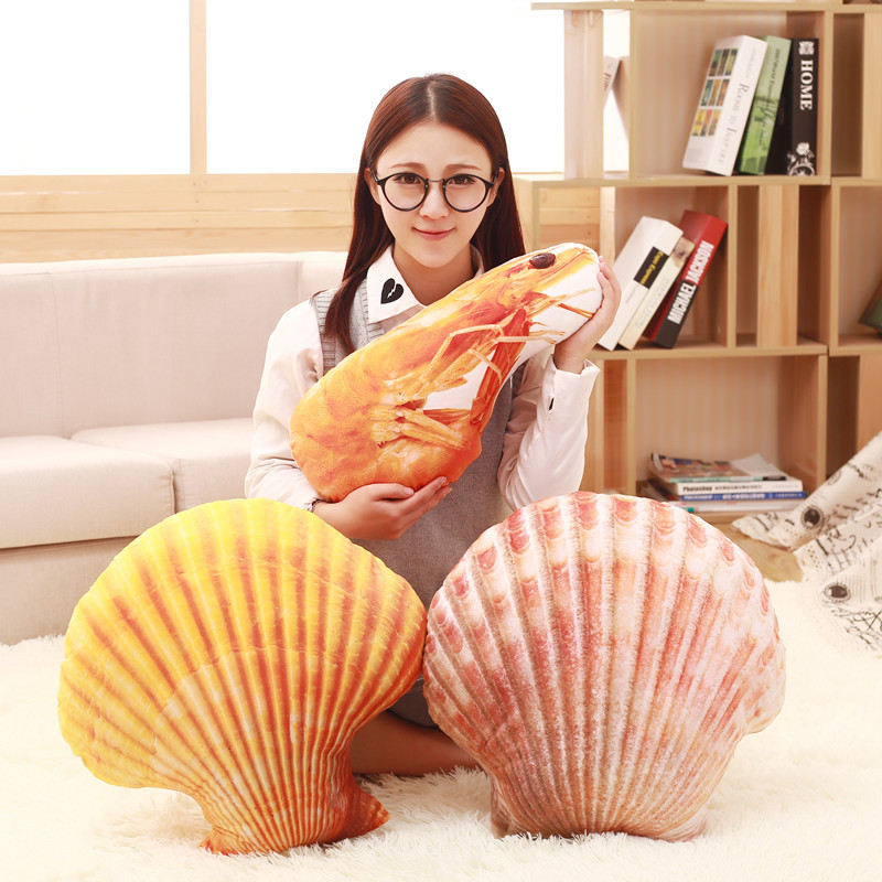 Simulation plush toys creative marine children's dolls large starfish shells shrimp pillow Halloween gift female
