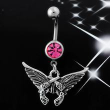 Q00783 Diamond Wing Pistol Navel Ring Hair Crystal Rhinestone Belly Button Rings Navel Piercing Navel Rings Jewellery(China)