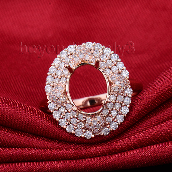 Oval Semi Mount 7x9mm Ring Setting In 14Kt Rose Gold Natural Love Diamond WU246