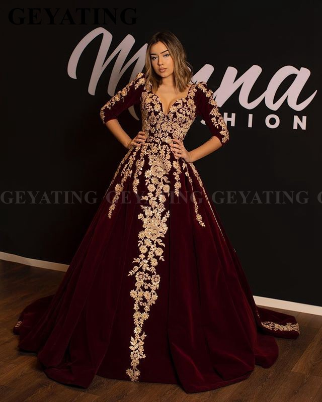 Burgundy Velvet Muslim 3/4 Long Sleeve Arabic Evening Dress Dubai Kaftan Gold Lace Applique Ball Gown Turkey Prom Formal Dresses