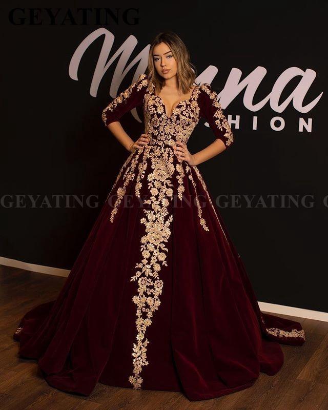 Burgundy Velvet Muslim 3/4 Long Sleeve Arabic Evening Dress Dubai Kaftan Gold Lace Applique Ball Gown Turkey Prom Formal Dresses