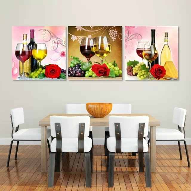 3 Pcs Red Wine Wall Art Picture Home Decoration Kitchen Canvas Print