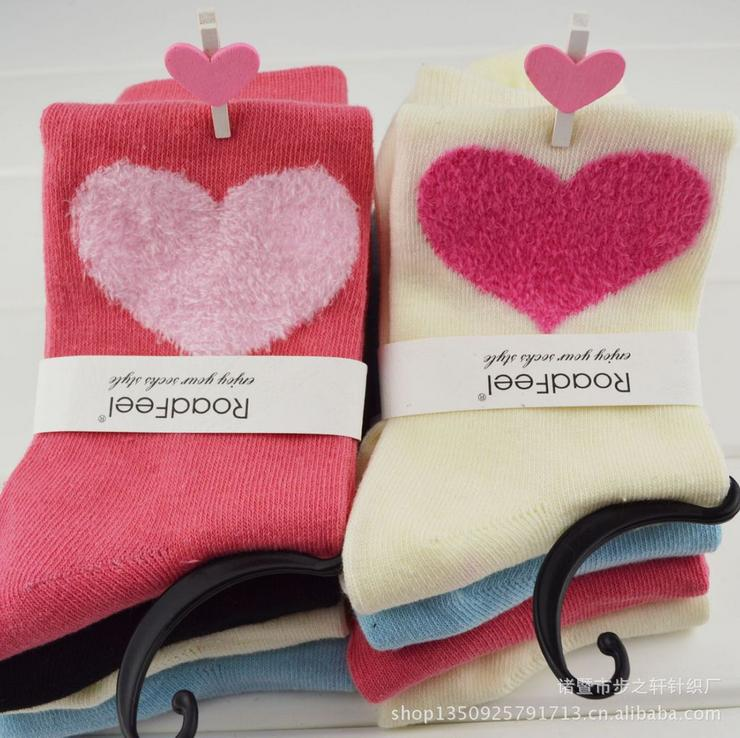 Cute fuzzy heart candy color cotton middle warm practical tube socks pregnant woman females socks mix 5pairs/lot Free Shipping