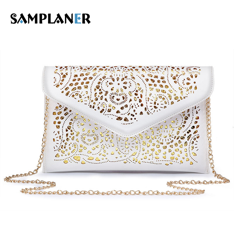 Samplaner Gold Hollow Out Envelope Clutch Bags Vintage Women Leather Crossbody Bag Small Wedding Party Evening Bag for Girl Gift