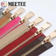 Meetee 5# 120cm Gold Metal Zippers Double Open Sliders  for Sewing Down Coat Jacket Zip Clothing Home Textile Tools Accessories