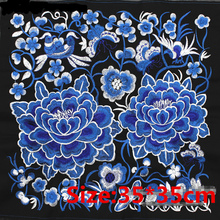 35*35cm Blue Lotus Embroidered Patches For Clothing Sew-on Applique DIY Ethnic Miao Garment Accessories