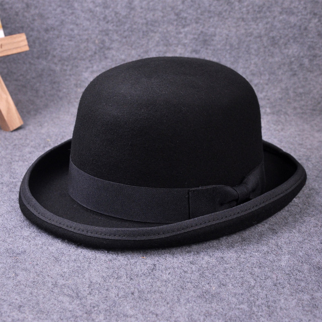 f71c73bad6a1b Pure Wool Men Fedora Hat Navy Black Grey Floppy Brim Woolen Felt Bowler Hat  Casual Dome Winter Derby Hat Caps