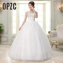 Costomize صور حقيقية فستان الزفاف 2016 الكورية نمط vestido de noivawhite ثوب زفاف طول الأرض الترتر فستان الزفاف العروس