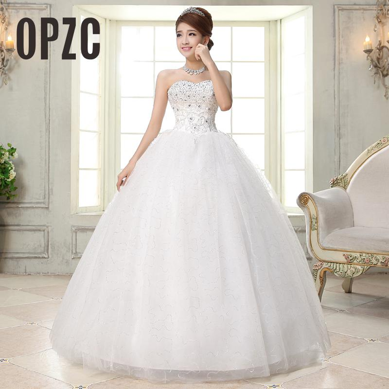Image 1 - Costomize Real photo Wedding Dress 2016 Korean Style vestido de noivawhite wedding gown floor length sequin wedding dress bride-in Wedding Dresses from Weddings & Events