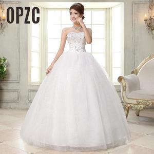 Image 1 - Costomize Real photo Wedding Dress 2016 Korean Style vestido de noivawhite wedding gown floor length sequin wedding dress bride