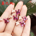 925 silver inlay natural Pyropes female ring