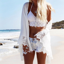 Girl Fashion White Beach Shirt Red Eagle Printing Lace Flare Sleeve Bikini Cardigan 2019 New Women Summer Sun-Proof