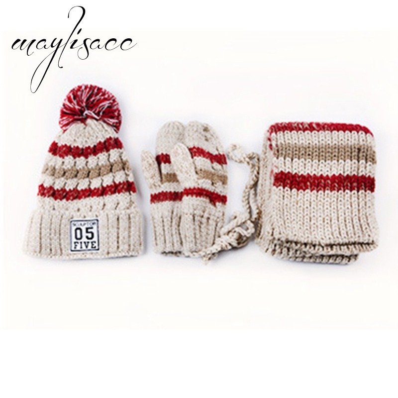 Maylisacc 3 Pcs/set Women Winter Warm Knitted Hat Cap Scarf With Gloves Fashionable For Girl's Women Hot Sell Christmas Gift Set
