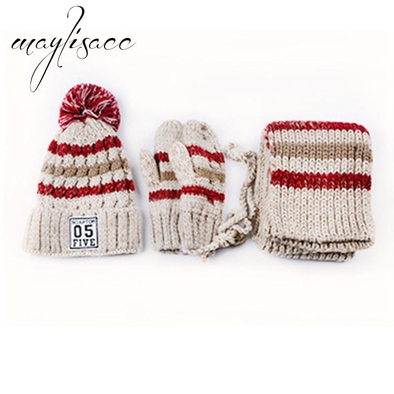 Maylisacc 3 pièces/ensemble femmes hiver chaud tricoté chapeau casquette écharpe avec des gants à la mode pour les femmes de fille vente chaude noël cadeau ensemble