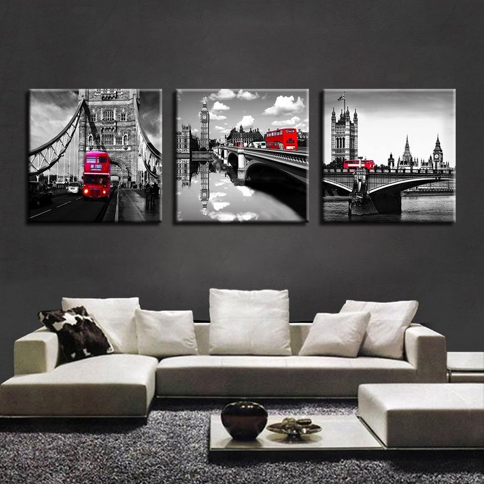 US $5.24 43% di SCONTO|Quadri su tela Per Soggiorno Wall Art Stampe 3 Pezzi  London Bridge Tower Dipinti Red Car Bus Poster Home Decor quadro-in ...