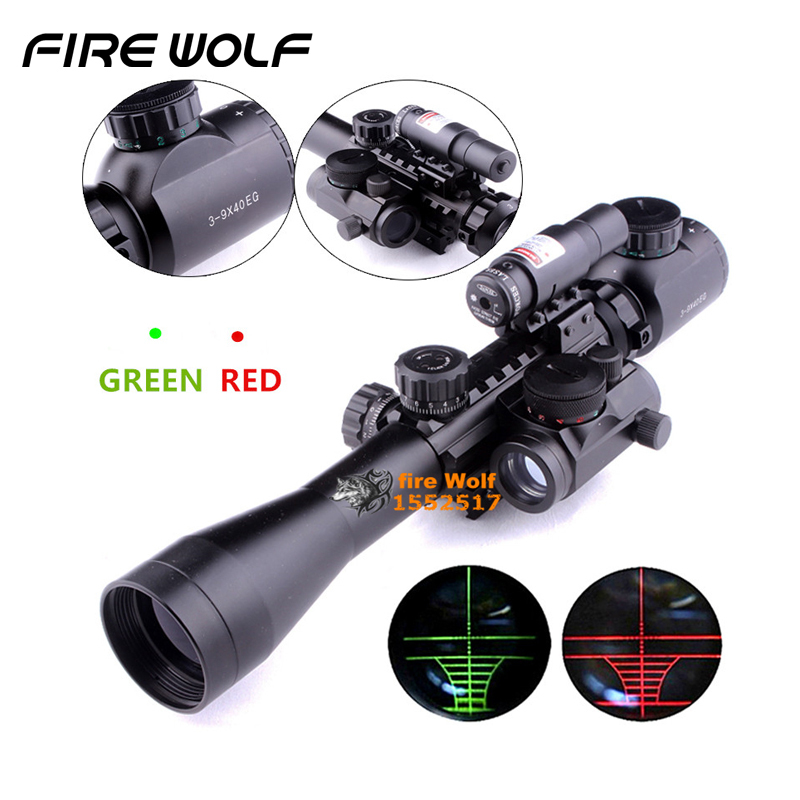 Optics Rifle 3-9x40 Illuminated Hunting Red/green Laser Riflescope With Holographic Dot Sight Combo Airsoft Gun Weapon Sight 1set riflescope hunting optics rifle 3 9x40 illuminated red green laser riflescope w holographic dot sight airsoft weapon sight