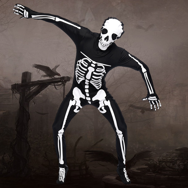 Halloween Cosplay Costumes Men Human Skeleton Cosplay Costumes Scary Black And White Jumpsuit Costumes Set
