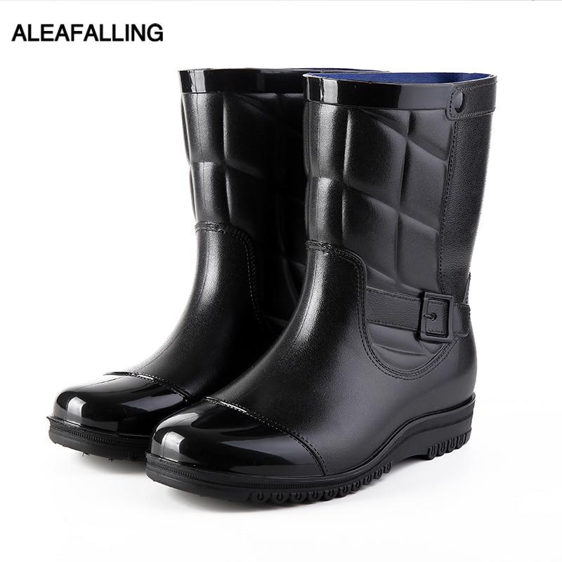 Diplomatisch Aleafalling Männer Wasserdichte Regen Stiefel Klassische Mid-kalb Leder Schuhe Abdeckung Abnehmbare Stiefel Arbeit Männer Arbeit Regen Stiefel Mbt02
